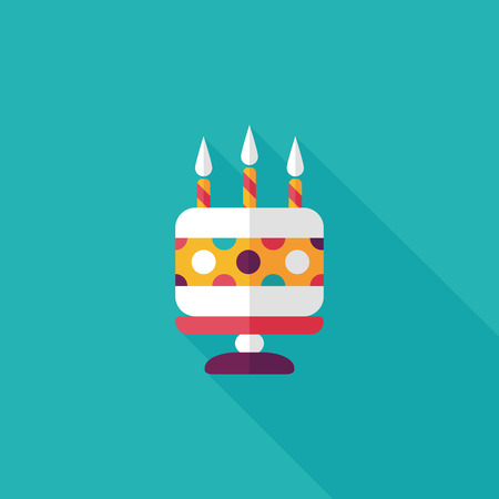 happy birthday candles: birthday cake flat icon with long shadow Illustration