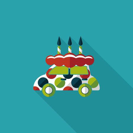 buttercream: birthday cake flat icon with long shadow,eps10 Illustration
