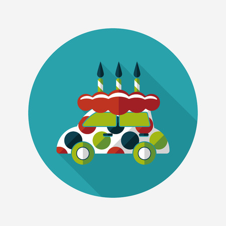 buttercream: birthday cake flat icon with long shadow Vettoriali
