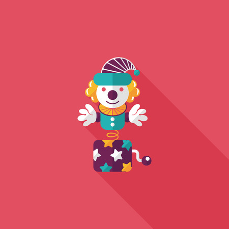 jack in a box: Jack in the box flat icon with long shadow