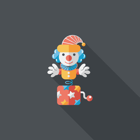 scary clown: Jack in the box flat icon with long shadow