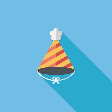 birthday hat: birthday hat flat icon with long shadow Illustration