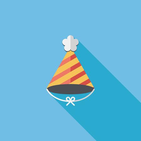 sombrero: icono plana gorro de cumplea�os con una larga sombra