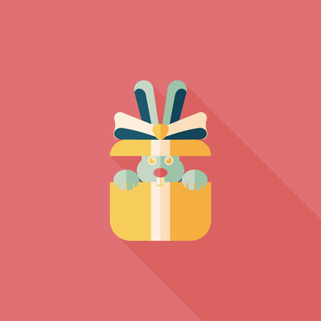 wrap wrapped: birthday presents flat icon with long shadow,eps10