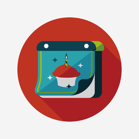 calender design: birthday calendar flat icon with long shadow.