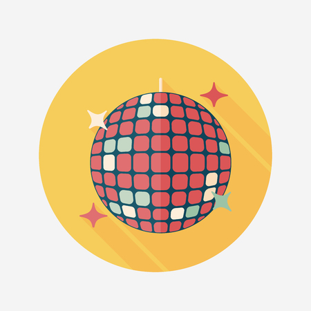 Disco ball flat icon with long shadow. Illustration