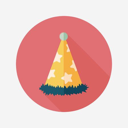 fiesta de cumpleanos: icono plana sombrero de fiesta de cumplea�os con una larga sombra, eps10 Vectores