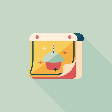 almanac: birthday calendar flat icon with long shadow.