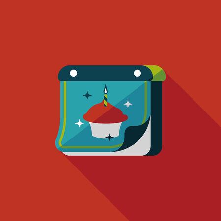 calender icon: birthday calendar flat icon with long shadow.