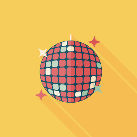 disco: Disco ball flat icon with long shadow. Illustration