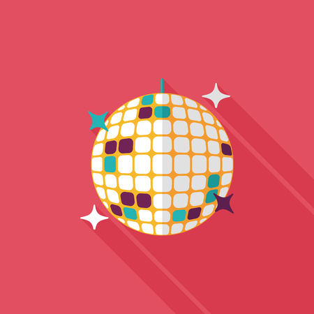 discoball: Disco ball flat icon with long shadow. Illustration
