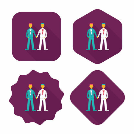 gay marriage: wedding couple flat icon with long shadow. Illustration