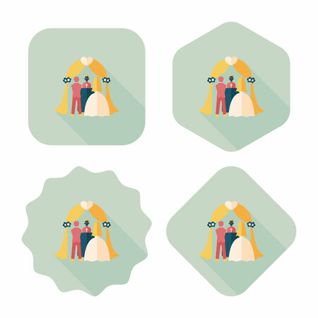 be married: wedding ceremony flat icon with long shadow.