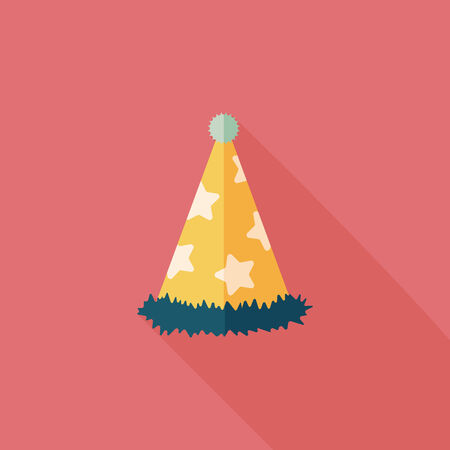 party hat: birthday party hat flat icon with long shadow.