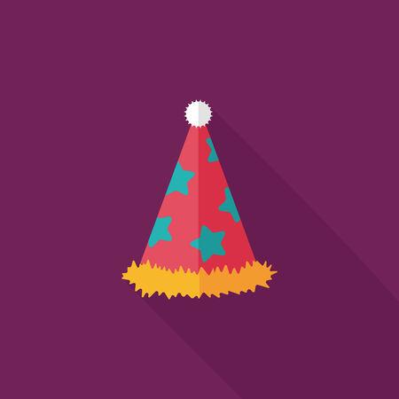 fiesta de cumpleanos: icono plana sombrero de fiesta de cumplea�os con una larga sombra.