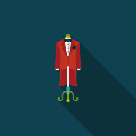 suit: wedding groom suit flat icon with long shadow.