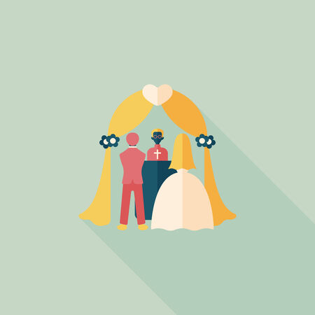 wedding ceremony flat icon with long shadow.