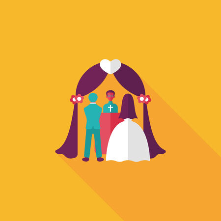 wedding tent: wedding ceremony flat icon with long shadow.