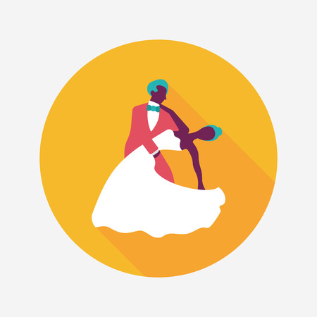 wedding couple: wedding couple flat icon with long shadow. Stock Illustratie