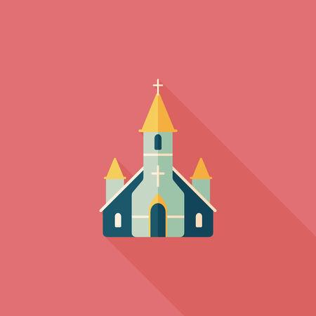 church service: wedding church flat icon with long shadow.