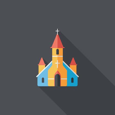 Hochzeitskirche Flach Symbol mit langen Schatten.