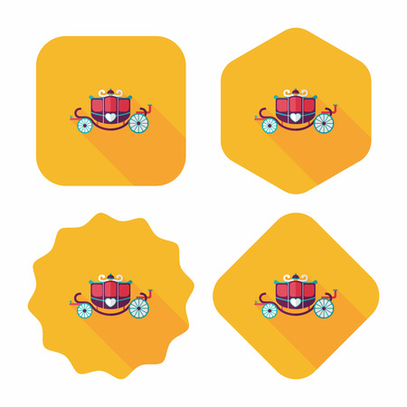 enchanting: wedding carriage flat icon with long shadow. Illustration