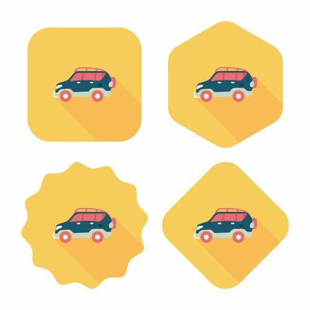 utility vehicle: Transportation Sports Utility Vehicle flat icon with long shadow. Illustration