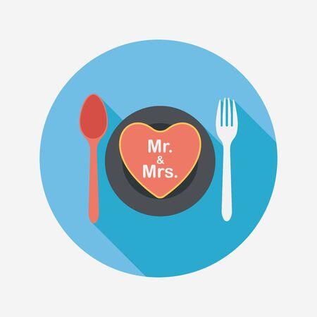 dinnerware: wedding dishware flat icon with long shadow.