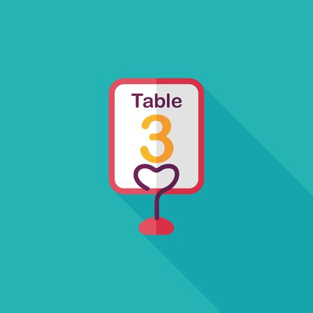 wedding table setting: wedding table sign flat icon with long shadow.