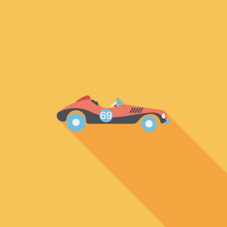 racing car: Transportation open car flat icon with long shadow.