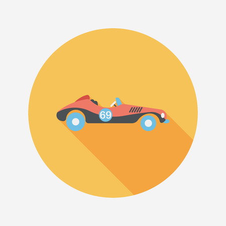 open car: Transportation open car flat icon with long shadow.