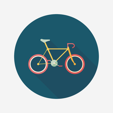 training wheels: Transportation bicycle flat icon with long shadow.