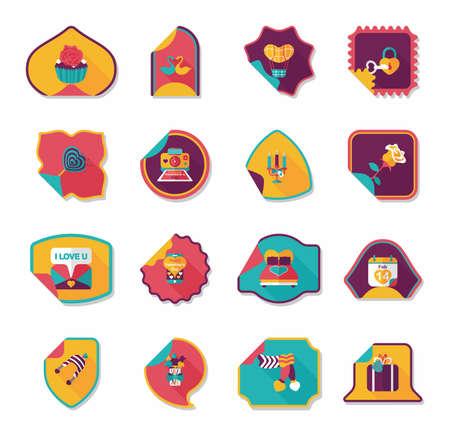 s day: Valentine's Day sticker banner flat design background set, eps10