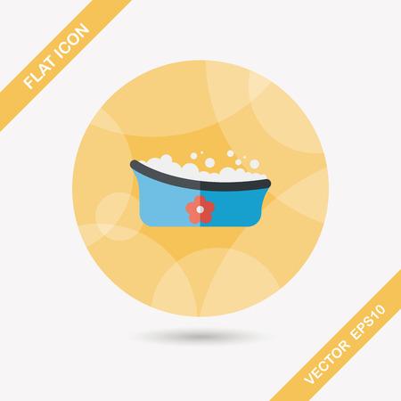 baby bath: baby bath flat icon with long shadow,eps10