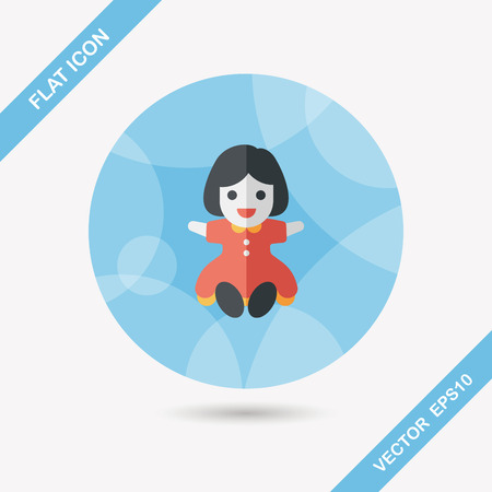 fashionable girl: girl doll toy flat icon with long shadow,eps 10