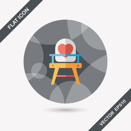 baby high chair flat icon with long shadow,eps10 Vector