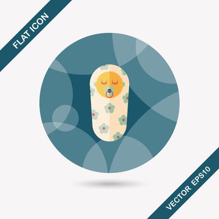 hispanic boy: baby flat icon with long shadow,eps10