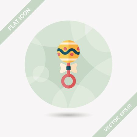 hispanic boys: baby rattle flat icon with long shadow,eps10