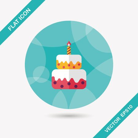 birthday cake flat icon with long shadow,eps10 Vettoriali