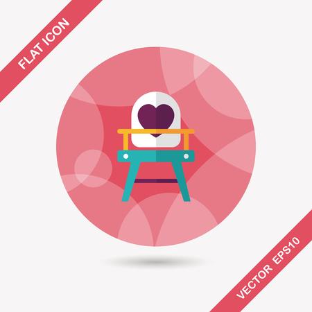 high chair: icono plana silla alta de beb� con una larga sombra, eps10 Vectores