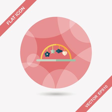 bebe cuna: Cuna colgar icono plana juguete con larga sombra, eps10