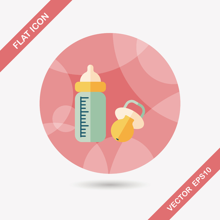 babysitting: Baby bottle flat icon with long shadow,EPS 10