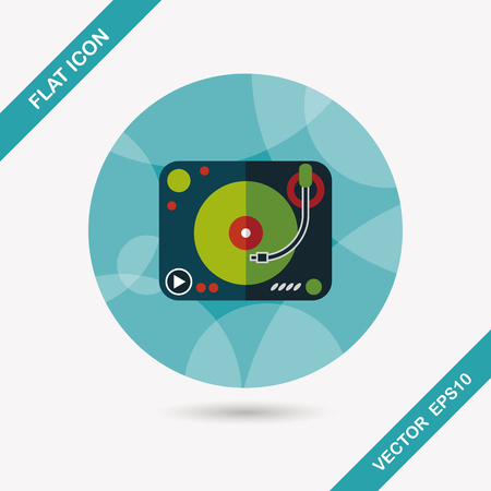 deejay: DJ music flat icon with long shadow,eps10 Illustration