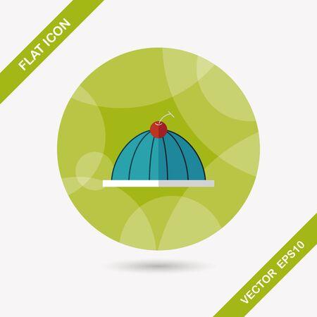 gelatina: dulce icono jalea plana con una larga sombra, eps10 Vectores