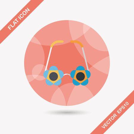 eye wear: flower glasses flat icon with long shadow,eps10
