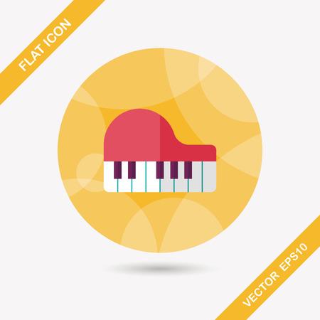 fortepian: fortepian płaskim ikona z długim cieniem, eps10