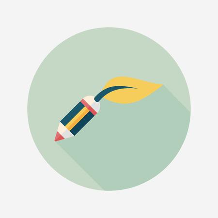 environmentally: Environmental protection concept flat icon with long shadow,eps10; Decomposable pencil; Environmentally friendly materials pencil