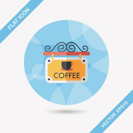 coffee shop: Coffee shop signs flat icon with long shadow,eps10