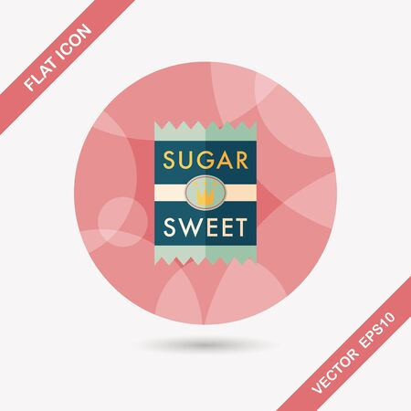 sweetening: sugar packet flat icon with long shadow,eps10 Illustration