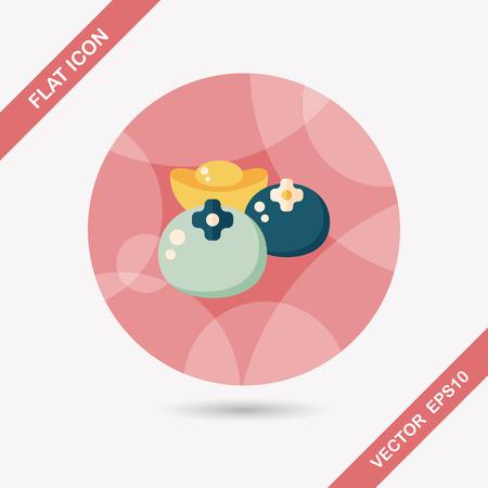 caqui: �cone plano Ano Novo Chin�s com sombra longa, eps10, caqui afortunados chineses